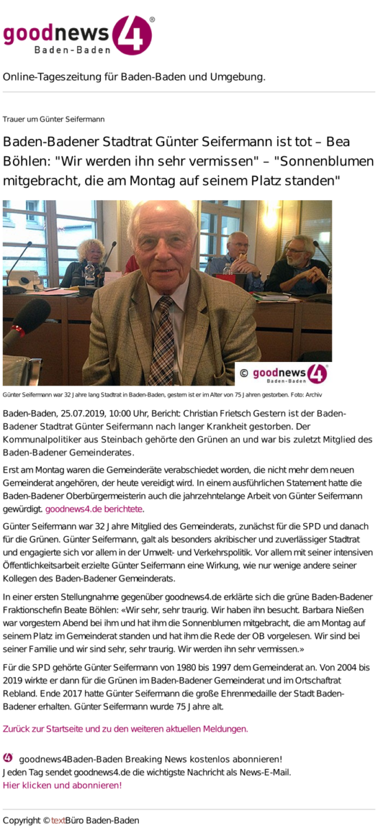 Nachruf Günter Seifermann, goodnews4 Baden-Baden 25.07.19