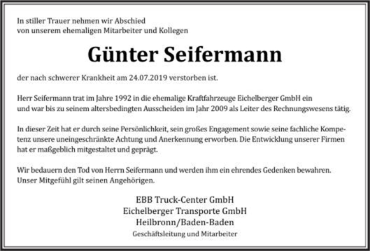Nachruf von EBB Truck-Center / Eichelberger Transporte